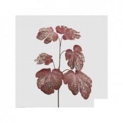 ENZO DE GASPERI Ramo foglie di Fico con glitter rosa h70cm