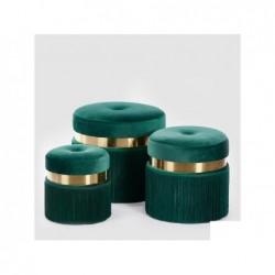 ENZO DE GASPERI Pouf velluto verde h46cm