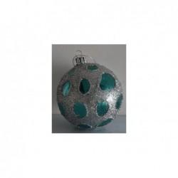 XONE Palla in vetro blu con decorazione argento glitter pois