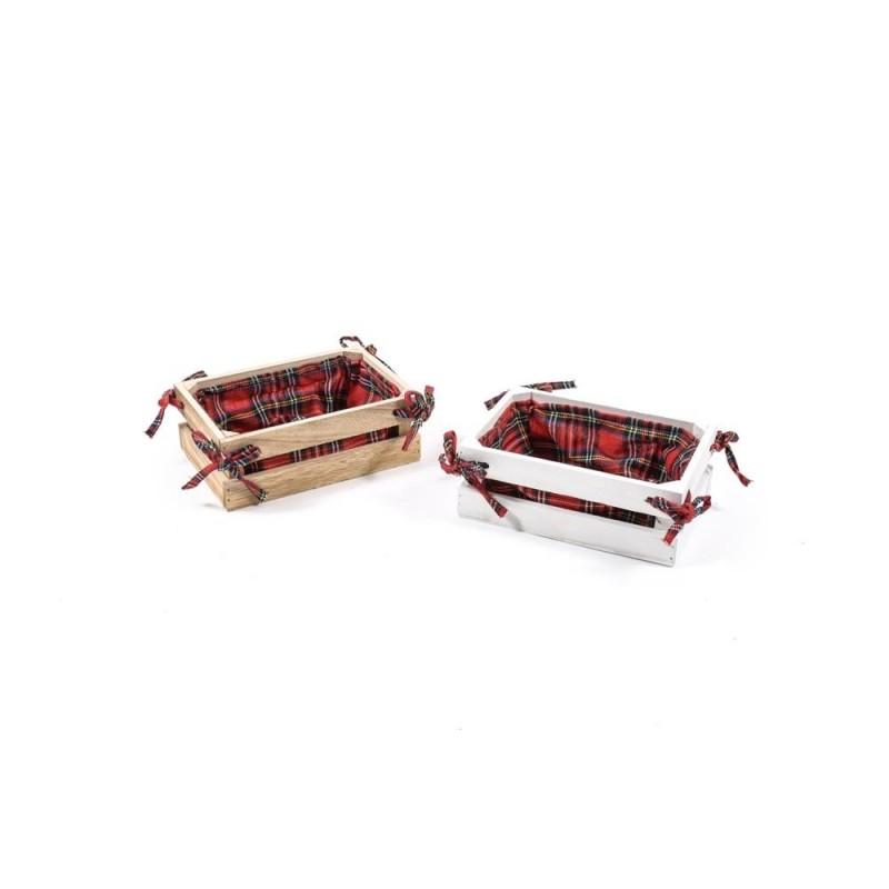 MERCURY Cestino in legno con tessuto scozzese