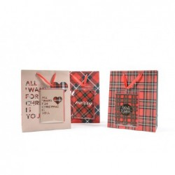 MERCURY Sacchetto natalizio con biglietto di auguri tartan