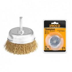 INGCO Spazzola a tazza con filo ondulato e gambo ø75 mm bl