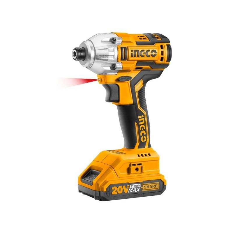 INGCO Avvitatore a impulsi brushless 2 batterie +borsa 1/4