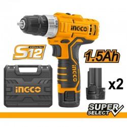 INGCO Trapano avvitatore a batteria 12v con 2 batterie