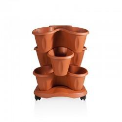 BAMA Set 3 vasi trifoglio con sottovaso