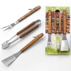 OMPAGRILL Set 3 accessori BBQ Inox con manico legno 40cm