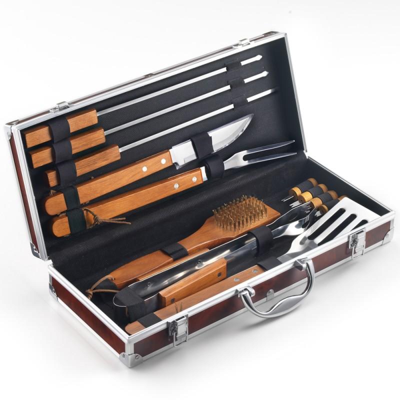 OMPAGRILL Set 12 accessori acciaio inox in valigetta radica