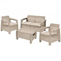 KETER OUTDOOR Corfu set in resina sabbia cuscino ecrù 2 poltrone divano e tavolino