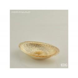 ENZO DE GASPERI Piatto bisanzio ovale raggi h6x30x20cm oro