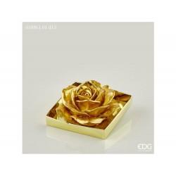 ENZO DE GASPERI Candela rosa metal d.13cm oro