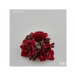 ENZO DE GASPERI Corona rose e melograno d11cm garnet