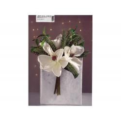 ENZO DE GASPERI Magnolia frost bouquet h.30cm verde e bianco