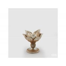 ENZO DE GASPERI Portacandela magnolia aperta oro h17cm