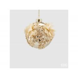ENZO DE GASPERI Palla oro in vetro con ricami 10cm