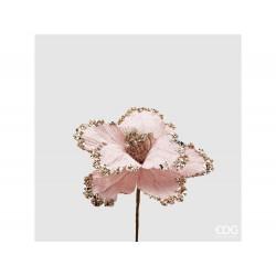 ENZO DE GASPERI Peonia Rosa in velluto+glitter d15