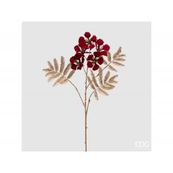 ENZO DE GASPERI Ramo dorato con fiori rossi h 83cm