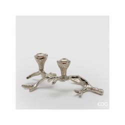 ENZO DE GASPERI Portacandela ramo x2 h11x27x17 silver