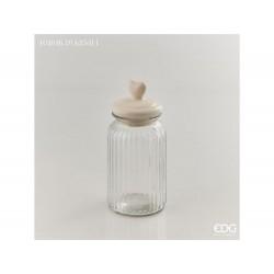 ENZO DE GASPERI Contenitore vaso cuore ceramica alto bianco