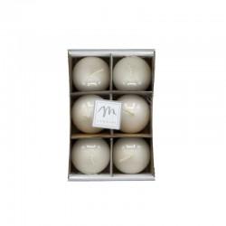 MERCURY Set 6 candele bianche sfera lucide 4,5cm
