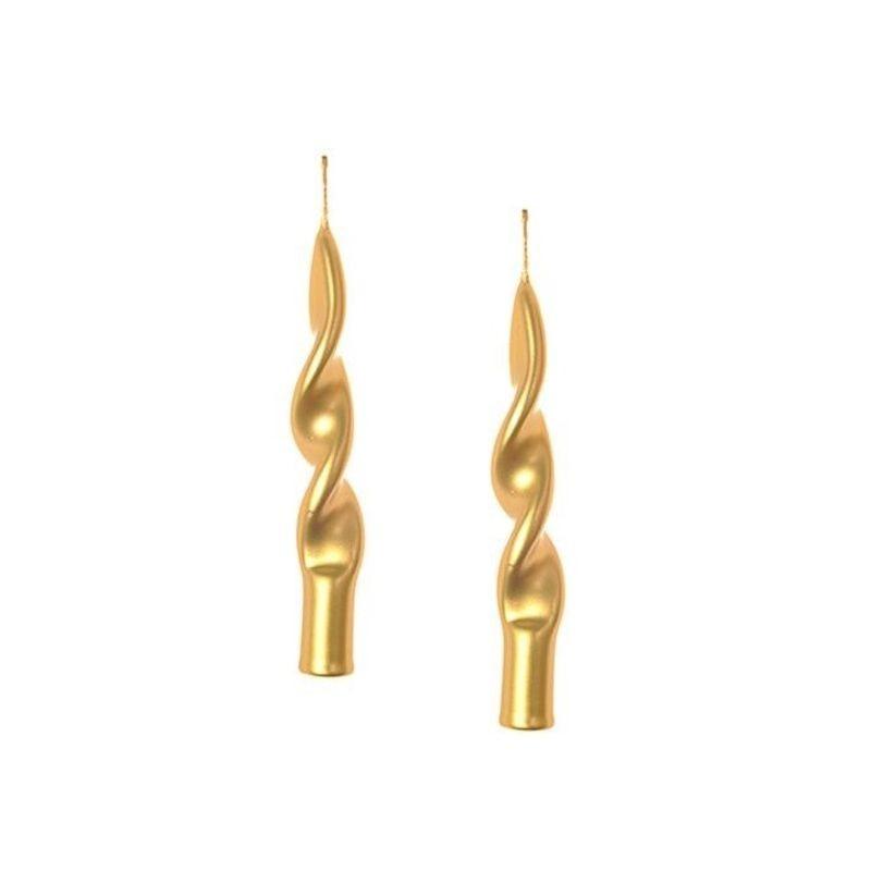 MERCURY Set 2 candele oro Fiamma h14cm