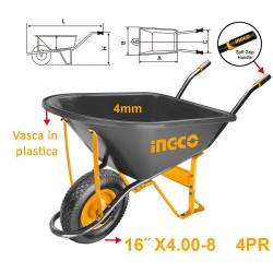 INGCO Carriola in plastica con ruota pneumatica 150kg
