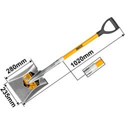 INGCO Pala quadra con manico in fibra di vetro 100cm