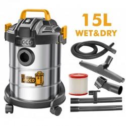 INGCO Aspirapolvere-liquidi Inox 12l 800w